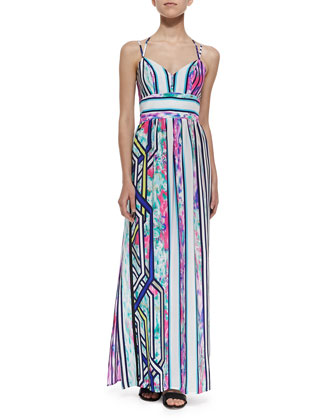 Cloud-Print Halter Maxi Dress