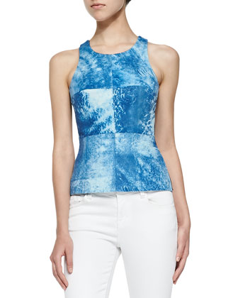 Sleeveless Top W/ Printed Leather Front