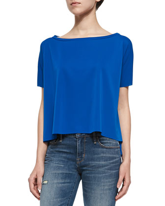 Sail Short-Sleeve Draped Top