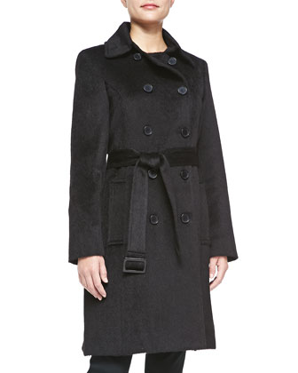 Alpaca Belted Double-Breasted Coat, Black