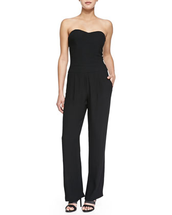 Strapless Pleated Full-Length Jumpsuit
