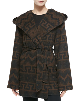 Tribal-Print Hooded & Belted Coat