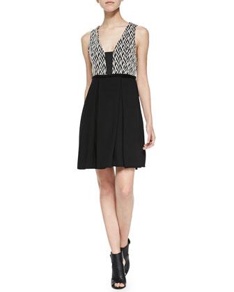 Cass Sleeveless Zigzag-Bodice Dress