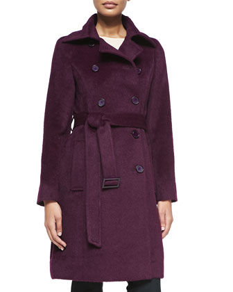 Alpaca Belted Double-Breasted Coat, Plum