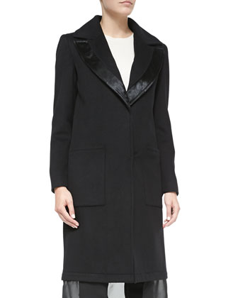Wool Coat W/ Leather-Trim & Chiffon Hem, Black
