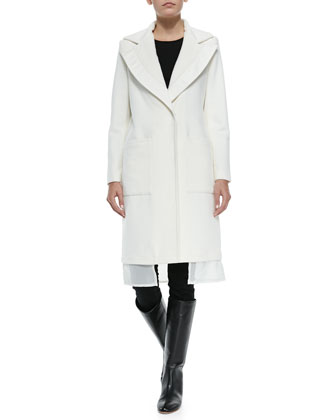 Wool Coat W/ Leather-Trim & Chiffon Hem