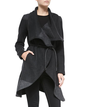 Colorblock Wrap Belted Coat