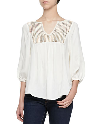 Luan 3/4-Sleeve Top W/ Contrast Yoke