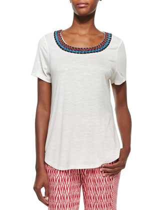 Natural Short-Sleeve Embroidered Tee