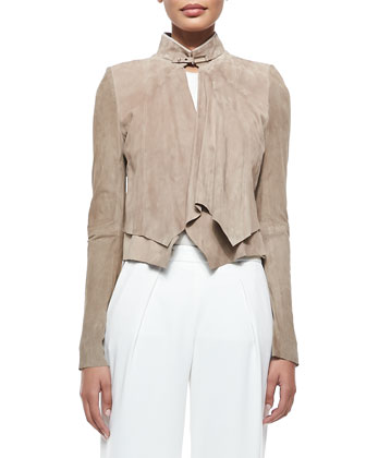 Cropped Suede Overlay Jacket