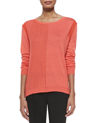 Long-Sleeve Draped Back Sweater