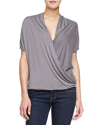 Bella Short-Sleeve Top W/ Draped Front