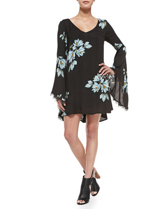Floral Mini Dress W/ Bell Sleeves