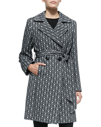 Graphic-Print Wool Double-Breasted Coat