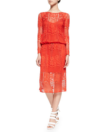 Luna Long-Sleeve Crocheted Lace Dress