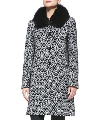 Fox Fur-Collar Geometric Club Coat