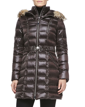 Alicia Fur Hoodie Long Puffer Coat, Coffee