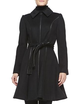 Fergie Wool-Blend A-Line Coat