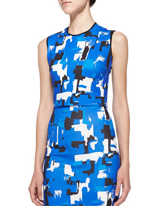 Sleeveless Printed Scuba Crop Top