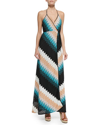 Damian Zigzag-Knit Halter Maxi Dress