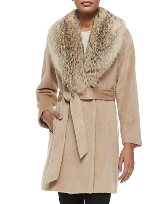 Fur-Collar Wrap Coat, Blonde