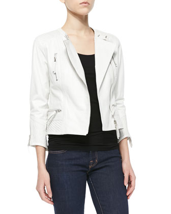 3/4-Sleeve Leather Moto Jacket