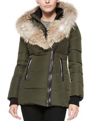 Adali Fur-Collar Puffer Coat