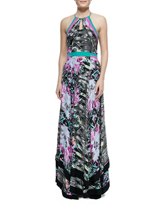 Aurora Colorblocked Sumatra-Print Dress