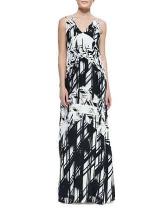 Tangier Combo-Print Maxi Dress