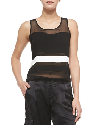Naples Sleeveless Combo Scoop-Neck Top