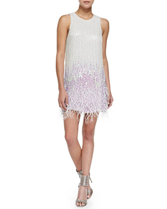 Allegra Embellished Dress with Feather Hem, Ivory