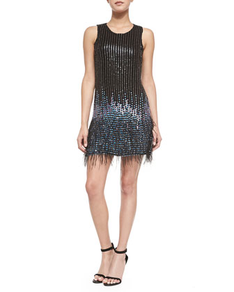 Allegra Embellished Dress with Feather Hem, Black