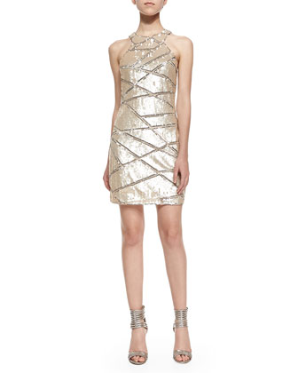 Mariah Sleeveless Patterned Sequined Dress