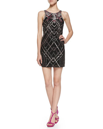 Monaco Sequined & Beaded Deco Dress