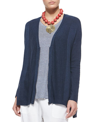 Cozy V-Neck Zip-Front Cardigan, Denim, Petite