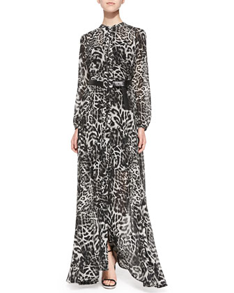 Fremont Tie-Neck Animal-Print Maxi Dress