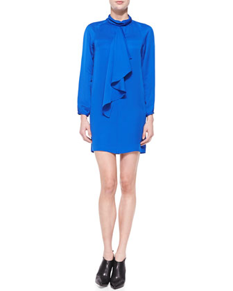 Turtleneck Ruffle Silk Dress, Blue