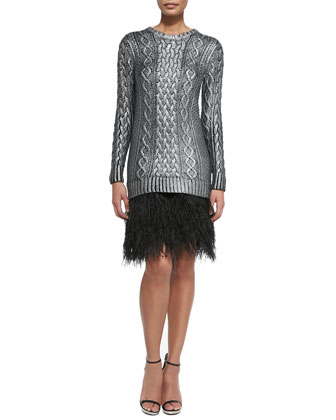 Cable Sweaterdress W/ Feather Skirt