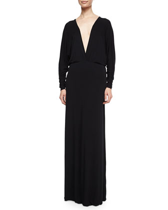 Eaton V-Neck Maxi Dress, Black