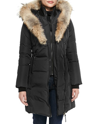 Kay Layered Fur-Collar Puffer Jacket