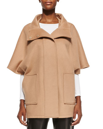 Felt Snap-Front Cape Coat