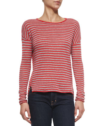 Cashmere Dropped-Sleeve Sweater W/ Stripes