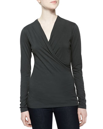 Long-Sleeve Wrap-Front Knit Top