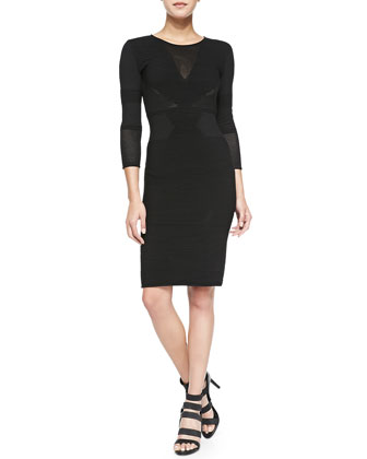 3/4-Sleeve Textured Body-Con Dress