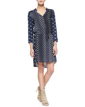 3/4-Sleeve Combo Print Dress