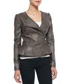 Peplum Asymmetric-Zip Faux-Leather Jacket, Mushroom
