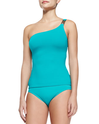 Watchband-Strap One-Shoulder Tankini Top