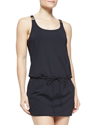 Watchband-Strap Drawstring Jersey Coverup, Black