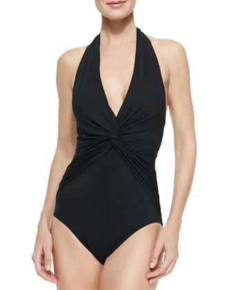 Deep-V Twisted Halter Maillot