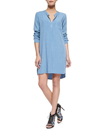 Long-Sleeve Shirtdress W/ Pocket
